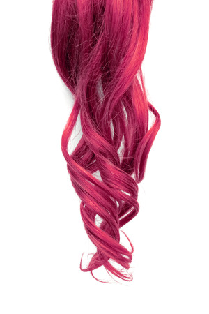 Natural wavy pink hair on white background 스톡 콘텐츠