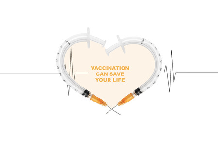 Heart made by syringes, isolated on white background. Vaccination saves lives - concept. Cardiogram