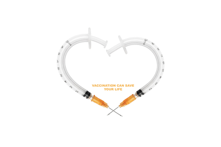 Heart made by syringes, isolated on white background. Vaccination saves lives - concept