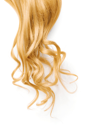 Natural wavy blond hair on white background Imagens