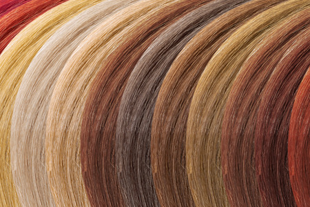 Hair colors palette as background. Dyed samples Stock Photo