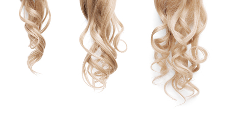 Blond long wavy hair on a white background. Growth process step by step