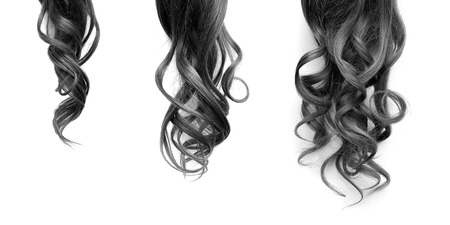 Black long wavy hair on a white background. Growth process step by step