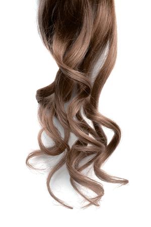 Long wavy brown hair on white background Stock fotó