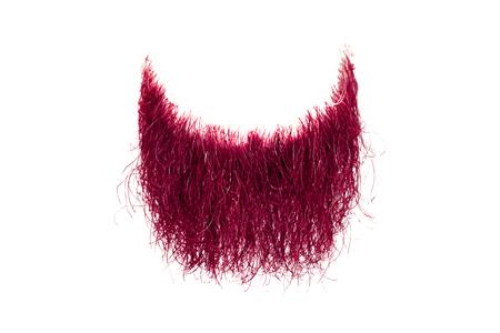 Disheveled pink beard isolated on white. Mens fashion