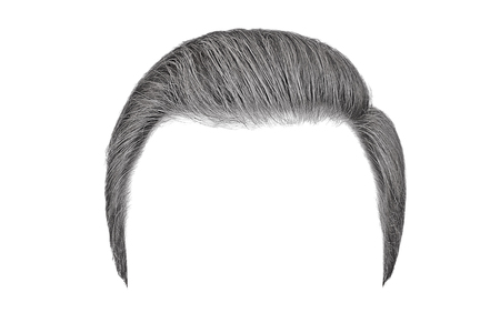 Classic men hairstyle. Gray hair isolated on white background 스톡 콘텐츠
