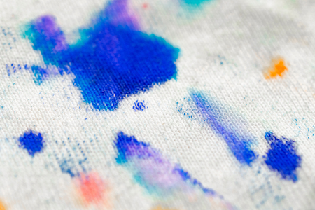 Stains on fabric macro shot. Clothes before washing. Clipart for advertising detergents