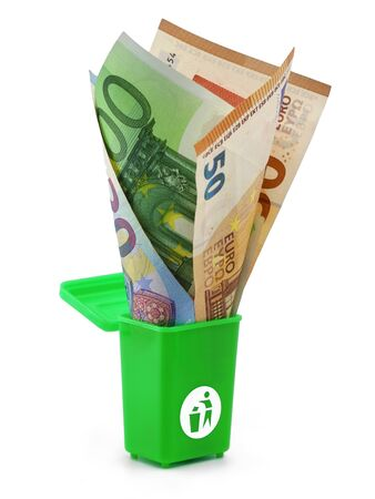 Euro banknotes in a green dust bin isolated on white background, concept of money wasting.