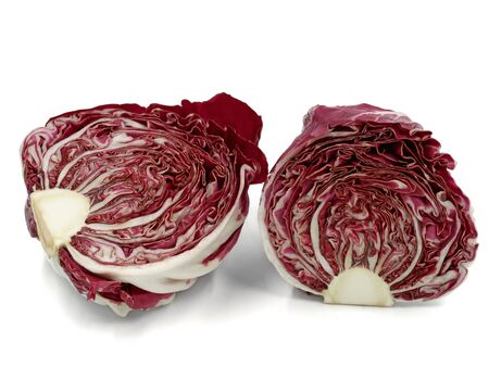 sliced purple radicchio, italian leaf chicory, isolated on white background
