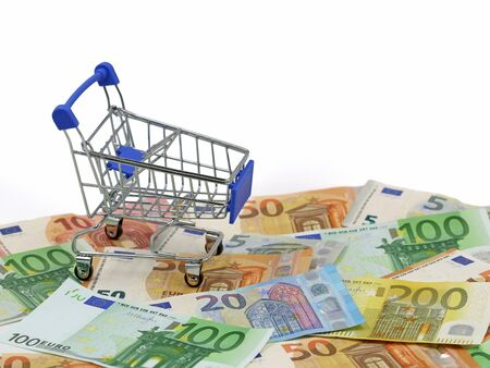 shopping cart on euro banknotes, european currency with white background and copy space.
