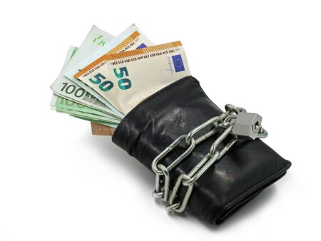 black wallet with euro banknotes locked with chain and padlock isolated on white background