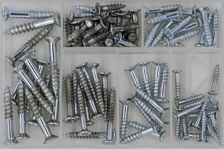 top view box of silver galvanized wood screws