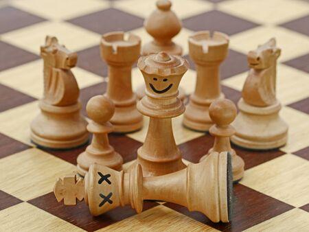 white queen kills white king on chess game, chess crime scene, concept of treachery