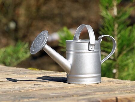 galvanized watering can on wooden terrace with natural background Archivio Fotografico