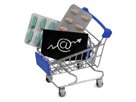 shopping cart, trolley full of various pharmaceutical pills on white background, concept of growing online shopping Archivio Fotografico