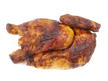 bavarian grilled, roasted half chicken isolated on white background