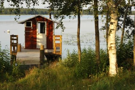 Finnish beach sauna and pier Stock Photo - 6593503