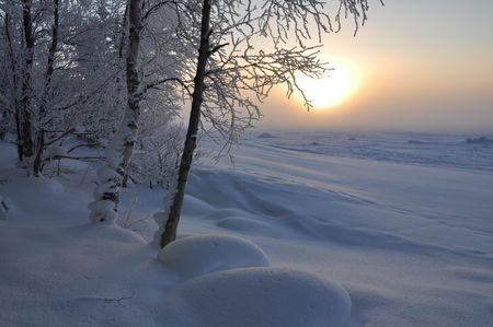 winter finland: Winter landscape Stock Photo