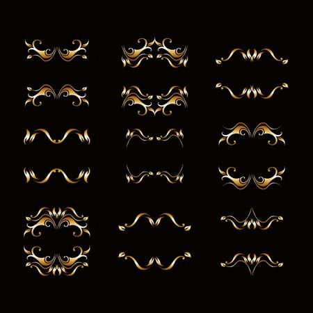 Ornate scroll and decorative design elements. Vintage Vignette Borders Set. Calligraphic Vector illustration isolated gold silver Ilustração