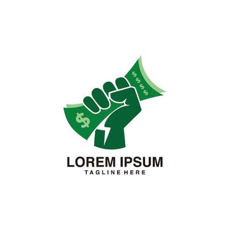 Hand Holding Money Full of Energy Logo Vector Icon Illustration