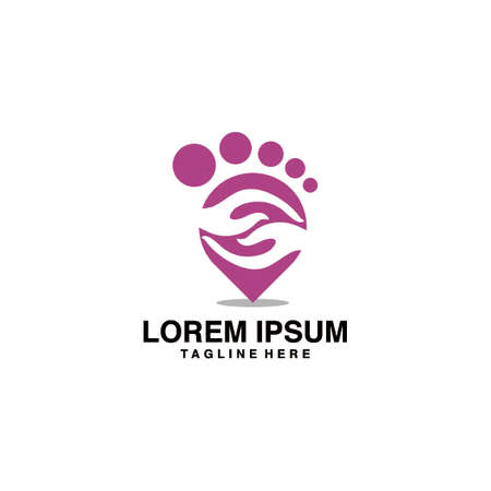 Foot Therapy With Feet And Both Hands Logo Vector Illustration Icon
