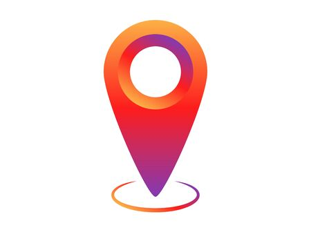 Colorful social network pin tag point for map. Location pointer to show position. Navigation pointing label to show location. Realistic colorful gradient pin tag. Vector