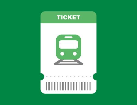 Railway ticket on train in flat green isolated design. Travel pass card on subway template with barcode. Locomotive trip ticket. Vector
