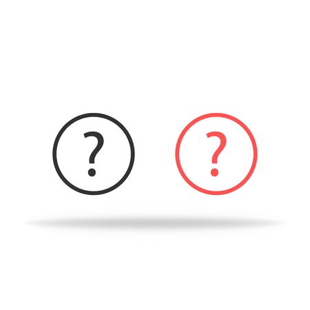 Question mark icon set in black and red. Isolated faq icons with shadow. Help transparent icon. Vector EPS 10 向量圖像