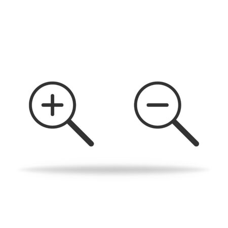 Lupe icon in miminalism. Magnifier with shadow to zoom in or zoom out. Vector EPS 10 Vettoriali