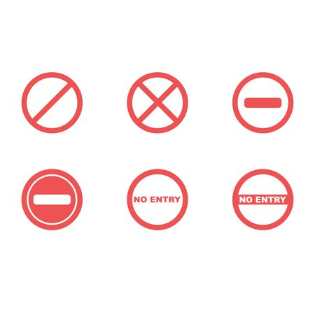 Set of restriction signs in flat desing. No entry and stop signs. Vector EPS 10