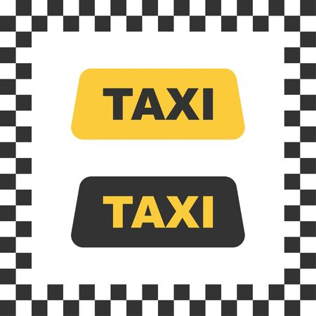 Checkered taxi icon. Isolated cab vehicle symbol. Yellow taxi car service with black square as background. Vector EPS 10.