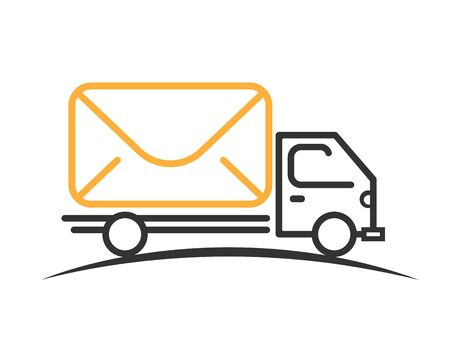 Mail express truck vector. Delivery car with mail icon. Postage illustration of shipping car. Isolated deliver truck in black and yellow. Vector EPS 10. Illustration