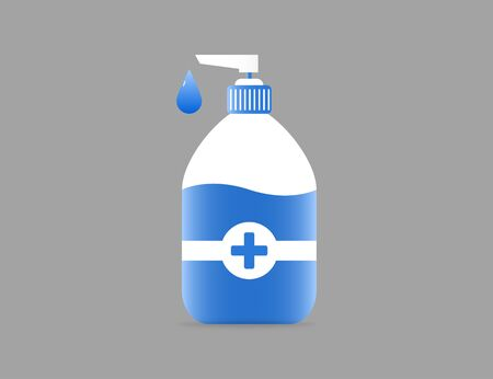 Sanitizer plastic bottle with soap gel in tube. Health care medical antibacterial liquid cream. Protection foam with drop. Vector EPS 10. Иллюстрация
