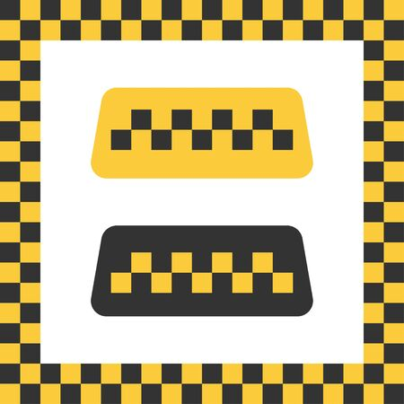 Checkered taxi icon. Isolated cab vehicle symbol. Yellow taxi car service with colored square as background. Vector EPS 10.