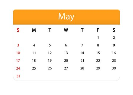 Spring calendar isolated icon. May of 2020 vector month planner. Template of calendar grid in modern style with office diary page. Vector EPS 10 일러스트