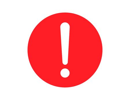 Round warning sign in red flat design. Error alert with white exclamation mark in circle. Caution symbol to get attention message. Vector EPS 10.