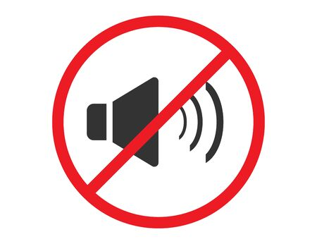 No sound or music icon. Isolated mute and warning illustration. Keep silence with forbidden and prohibited red sign. Vector EPS 10.