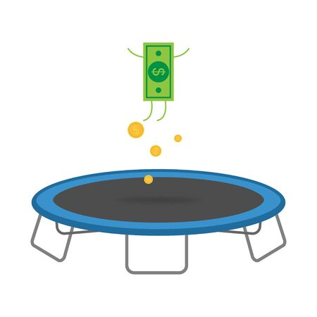 Jumping dollar icon with coins on trampoline. Unstable currency of dollar. Flying money isollated symbol. No stability of economy. Vector EPS 10