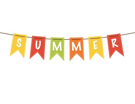 Summer flags illustration. Celebration of summer in carnival or party style with ribbons and banners. Decoration flags or garland in colorful design. Greeting summer isolated icons. Vector EPS 10. Vector Illustration