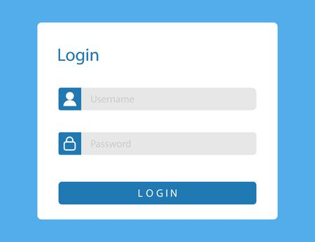 Login or sign in page on web site. Mockup with username and password fields in blue window for members. Log in template with blank ui illustration. Sign in form or registration. Vector EPS 10 Vecteurs