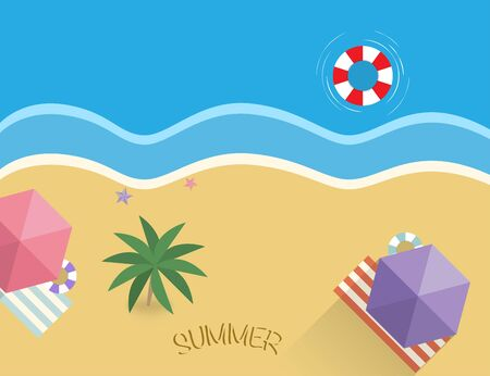 Summer beach with palm and sand. Ubrella and towel with rubber ring. Sea side holiday illustration of vacation. Tropical ocean and sea stars. Vector EPS 10. Çizim