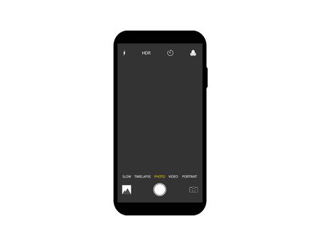 Mockup of camera interface on smartphone. Template of video and photo screen with settings on mobile device. Layout with timelapse, slow hdr icons. Modern interface of camera with frame
