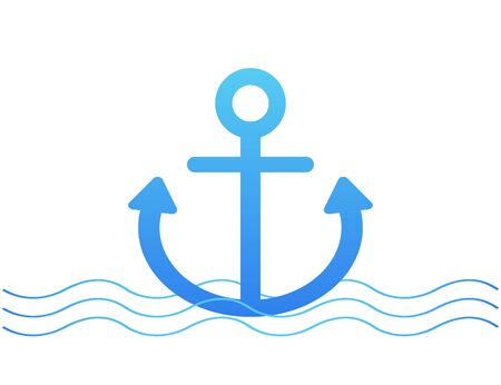 Anchor and waves vector icon. Logo with blue water and ship sign. Sea pattern isolated graphic. Vector EPS 10.