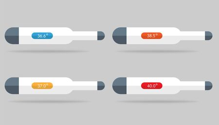 Set of thermometer icons with temperature level on it. 36.6, 37.0, 38.5 and 40 degrees with colors. Isolated medical thermometer with celsius or fahrenheit. Control of health with indicator in flat. Vector EPS 10