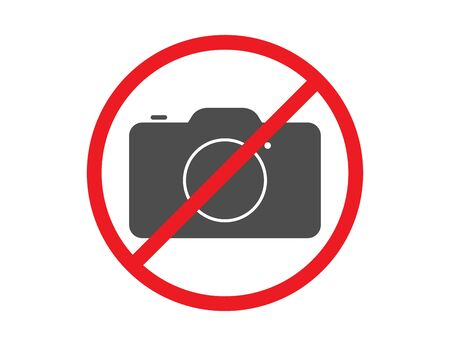 No photo forbidden sign. Prohibited red symbol to stop making photos and pictures. Vector EPS 10. Ilustracja