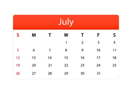 Summer calendar isolated icon. July of 2020 vector month planner. Template of calendar grid in modern style with office diary page. Vector EPS 10.