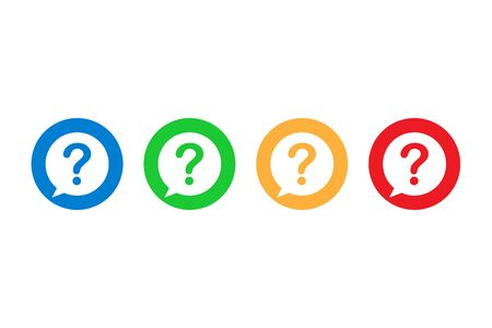 Set of question mark symbols in flat design. Help or ask buttons in blue, green, orange and red colors. Isolated faq icons in bubble style. Support or query symbols. Vector EPS 10 向量圖像