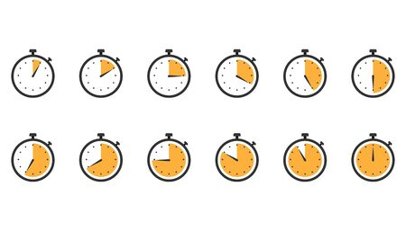 Stopwatch icons. Set of clock timer in flat design in orange. Counter watch with second arrow. Yellow stopwatch chronometer. Speed measure tool. Illusztráció