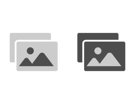 Image silhouette icon in black and white. Picture gallery file thumbnail. Simple pictogram of photo or media file in flat design simple design. File icon. Thumbnail of media file. Vector EPS 10.