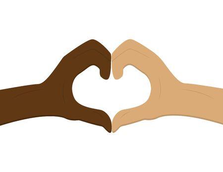 No al racismo. Forma de corazón con las manos. Amistad entre personas. Detén la discriminación. Piel en blanco y negro. Manos de amor. Juntos contra el racismo. Símbolo de amor. Trabajo aislado. Eps vectoriales 10. Ilustración de vector